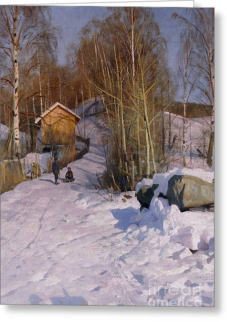 Footprint Greeting Cards - A Winter Landscape with Children Sledging Greeting Card by Peder Monsted