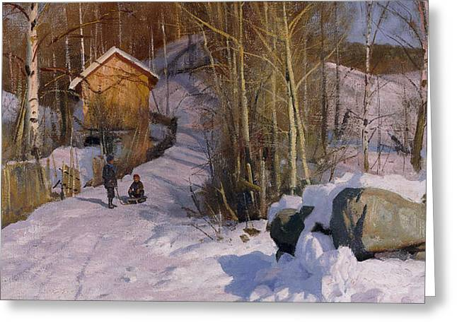 A Winter Landscape with Children Sledging Greeting Card by Peder Monsted