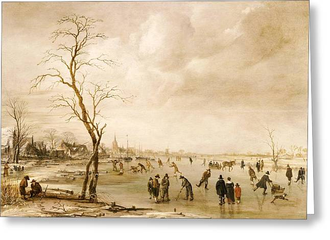 A Winter Landscape with Townsfolk Skating and Playing Kolf on a Frozen River Greeting Card by Aert van der Neer
