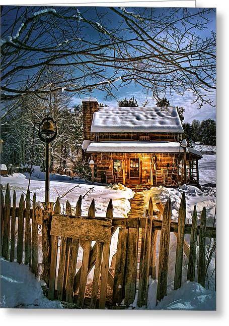 A Winter Night Greeting Card by Mary Almond