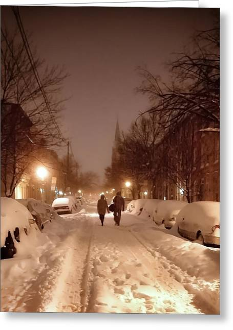 Snowy Night Night Greeting Cards - A Winter Night on Riverside Greeting Card by SCB Captures