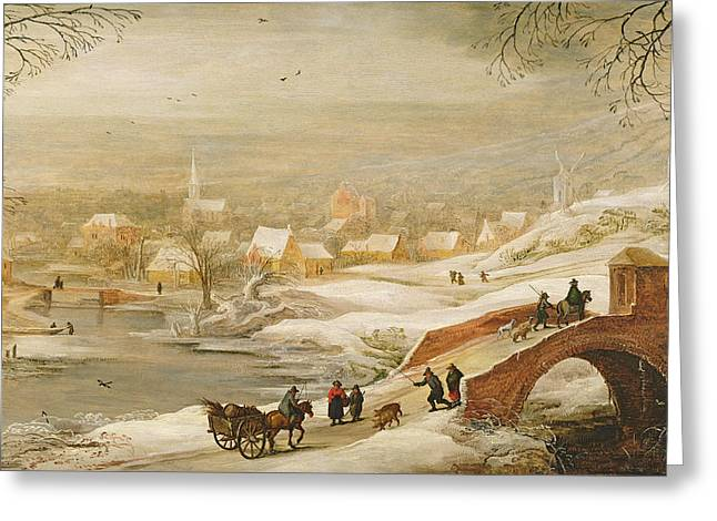 Horse And Cart Paintings Greeting Cards - A Winter River Landscape Greeting Card by Joos or Josse de, The Younger Momper