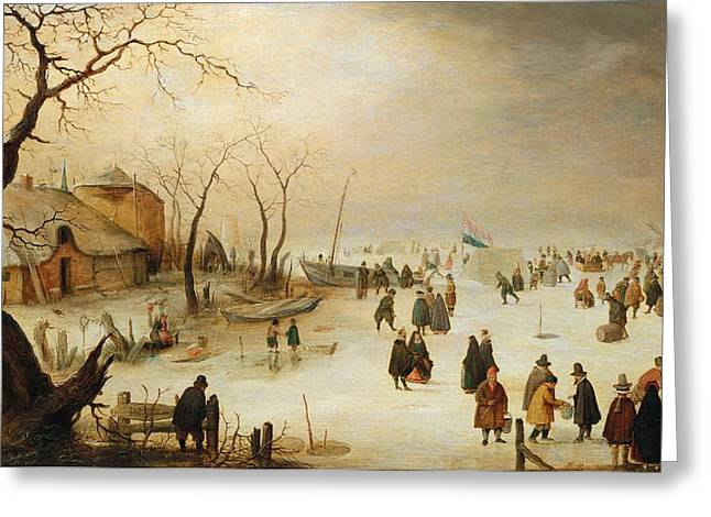 Skaters Greeting Cards - A Winter River Landscape with Figures on the Ice Greeting Card by Hendrik Avercamp