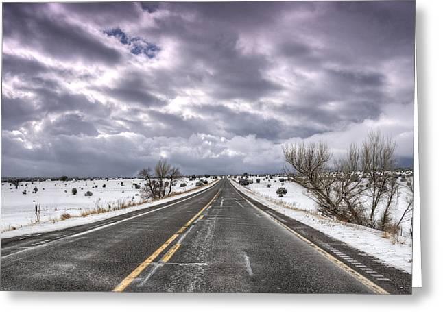 Road Travel Greeting Cards - A Winter Road  Greeting Card by Saija  Lehtonen