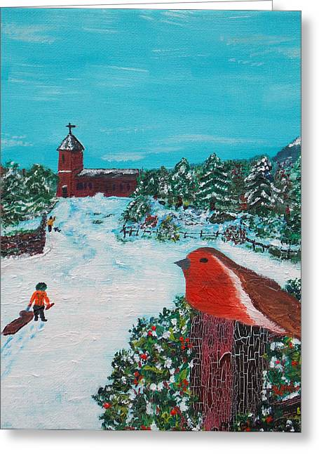 Sled.fence Greeting Cards - A Winter Scene Greeting Card by Martin Blakeley