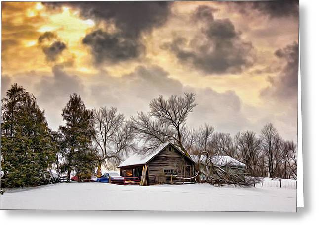 Snow Tree Prints Digital Greeting Cards - A Winter Sky - Oil Greeting Card by Steve Harrington