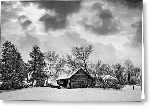 Storm Prints Digital Greeting Cards - A Winter Sky - Paint bw Greeting Card by Steve Harrington
