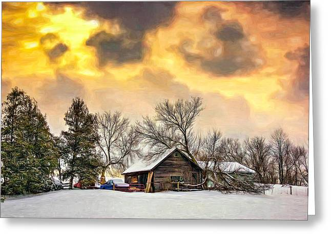 Storm Prints Digital Art Greeting Cards - A Winter Sky - Paint Greeting Card by Steve Harrington