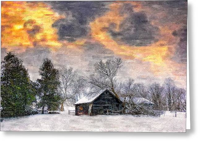Shed Digital Greeting Cards - A Winter Sky paint version Greeting Card by Steve Harrington