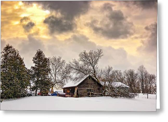Storm Prints Digital Art Greeting Cards - A Winter Sky Greeting Card by Steve Harrington