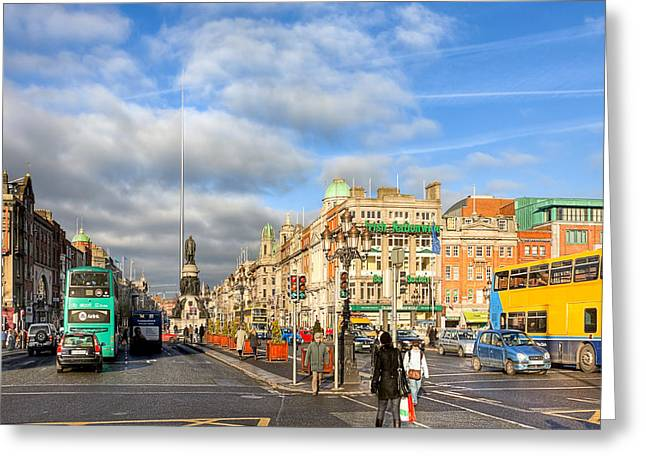 Cars In Winter Greeting Cards - A Winter Stroll in Dublin Ireland Greeting Card by Mark Tisdale