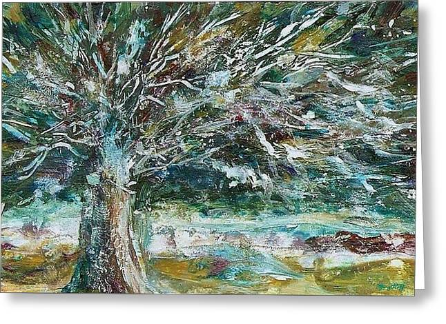 Sienna Greeting Cards - A Winter Tree Greeting Card by Mary Wolf