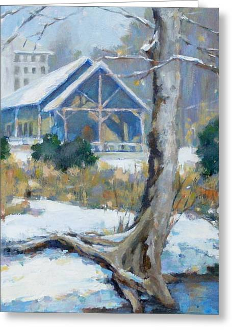 A Winter Walk In The Park Greeting Card by Sandra Harris