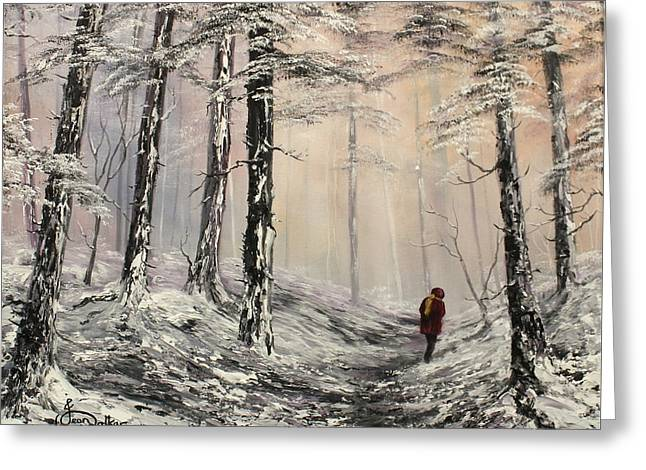 Sledge Training Greeting Cards - A Winter Walk Greeting Card by Jean Walker