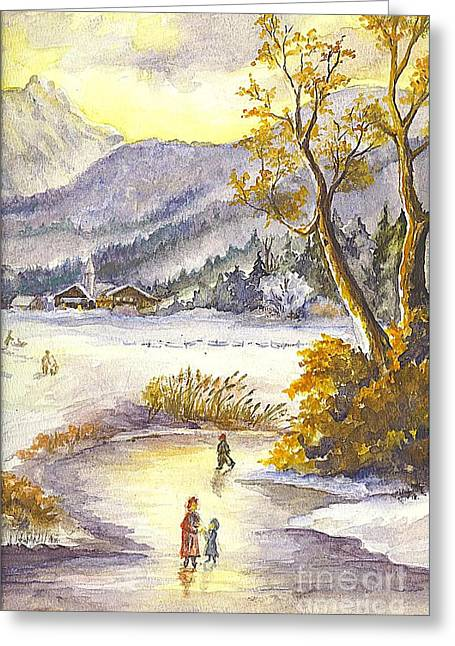 Family Time Drawings Greeting Cards - A Winter Wonderland Part 2 Greeting Card by Carol Wisniewski