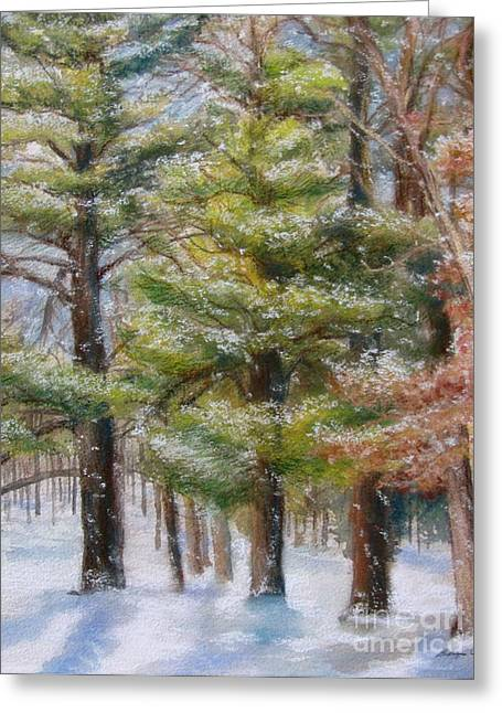 Winter Park Pastels Greeting Cards - A Winter Wonderland Greeting Card by Kathryn Kerekes