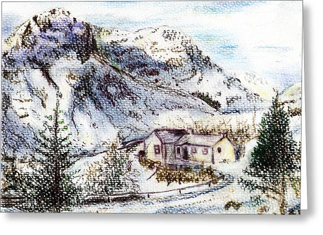 Winter Road Scenes Mixed Media Greeting Cards - Alpine winter wonderland Greeting Card by Madeline Moore