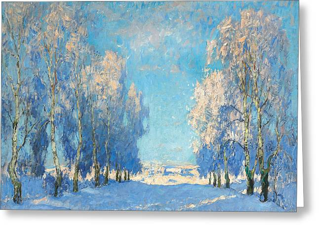 Winter Scenery Greeting Cards - A Winters Day Greeting Card by Konstantin Ivanovich Gorbatov
