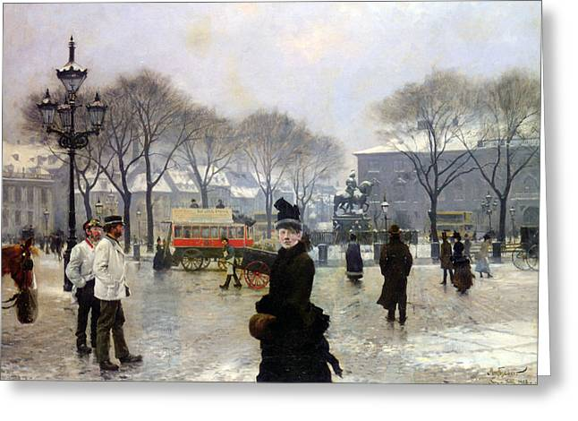 A Winters Day Greeting Card by Paul Gustav Fischer