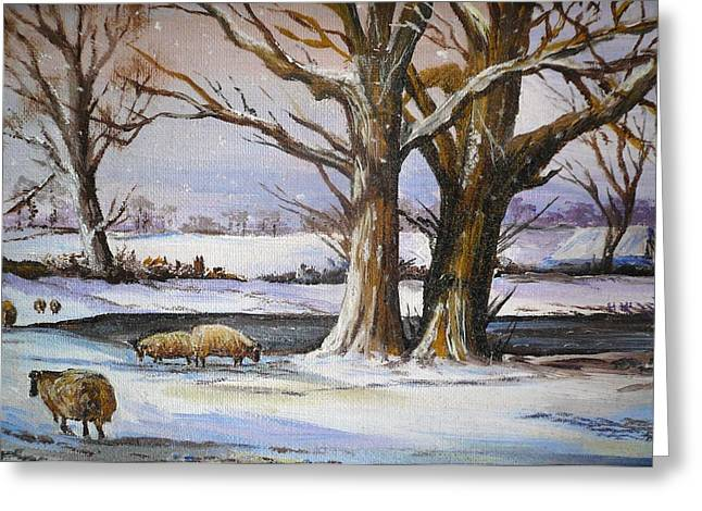 Nature Scene Paintings Greeting Cards - A Winters Morning Greeting Card by Andrew Read