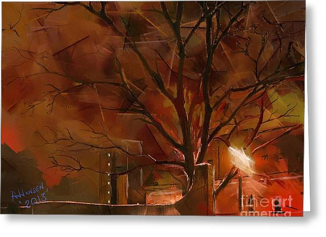 Frost Tower Greeting Cards - A Winters Night Greeting Card by Arne Hansen