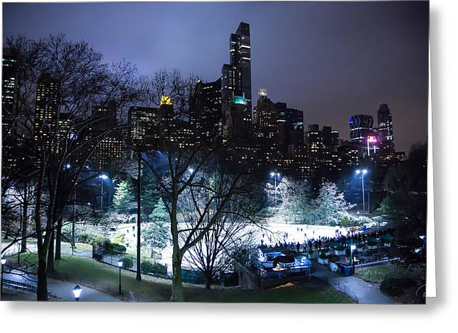 Wollman Rink Greeting Cards - A Winters Night at Wollmans Rink Greeting Card by Rob Beverly
