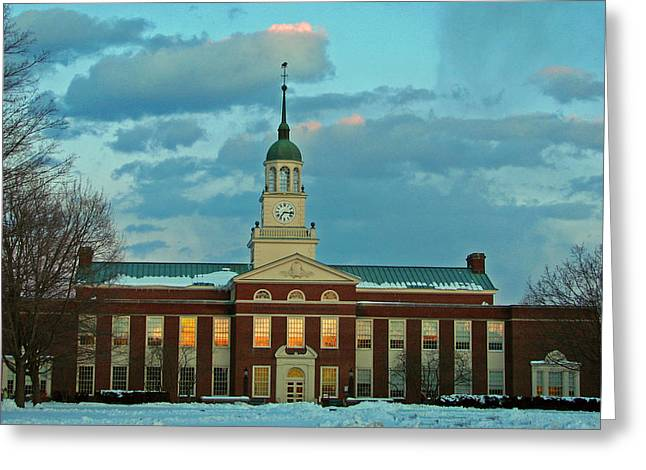 Bucknell Greeting Cards - A Winters Night Greeting Card by Ronald Fleischer