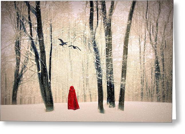 Winter Crows Greeting Cards - A Winters Tale Greeting Card by Jessica Jenney