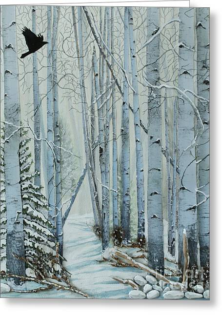 Snow Tree Prints Greeting Cards - A Winters Tale Greeting Card by Stanza Widen
