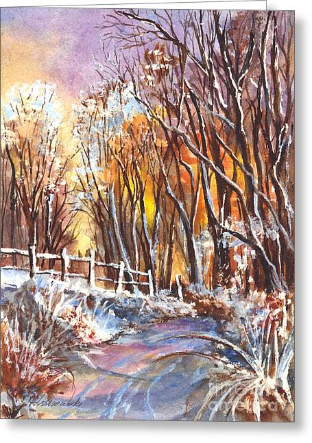 Snowstorm Posters Greeting Cards - A Winter Sunset Greeting Card by Carol Wisniewski