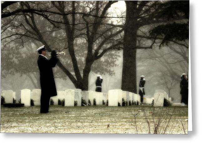 Headstones Greeting Cards - A Wintry Final Call Greeting Card by Mountain Dreams