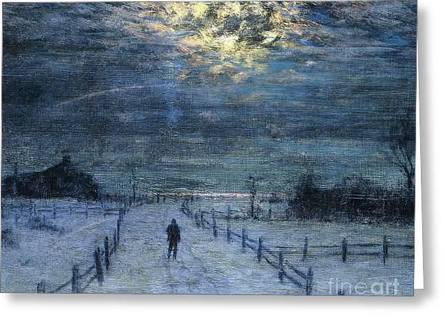 Snowy Evening Greeting Cards - A Wintry Walk Greeting Card by Lowell Birge Harrison