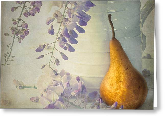 Wisteria Greeting Cards - A Wisteria And Pear Still Greeting Card by Constance Fein Harding