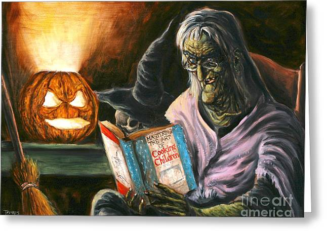 Witch Greeting Cards - A Witch Reading Greeting Card by Mark Tavares