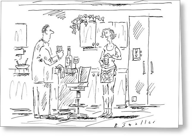 A Woman Addresses A Man In A Kitchen Greeting Card by Barbara Smaller