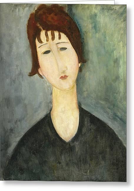 Modigliani Greeting Cards - A Woman Greeting Card by Amedeo Modigliani