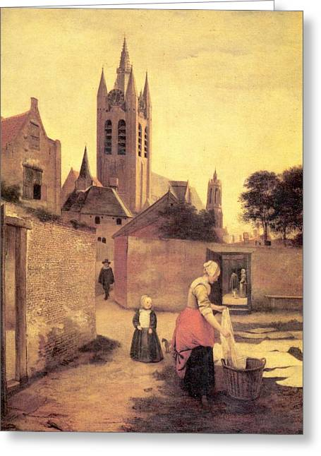 Hooch Greeting Cards - A woman and a child on a Bleichwiese Greeting Card by Pieter de Hooch
