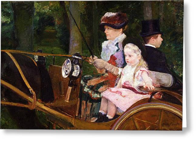 Cassatt Paintings Greeting Cards - A Woman and a Girl Driving Greeting Card by Mary Stevenson Cassatt
