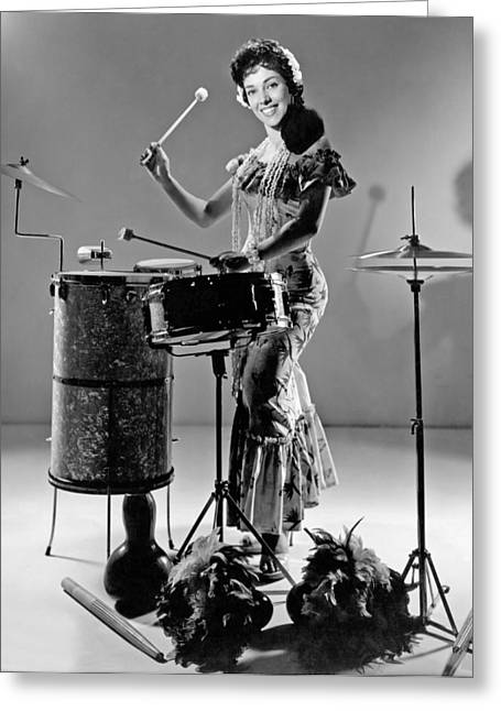 A Woman Calypso Percussionist Greeting Card by Underwood Archives