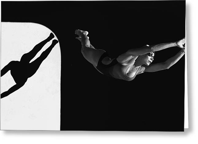 Arms Out Greeting Cards - A Woman Diving Into The Unknown Tarifa Greeting Card by Ben Welsh