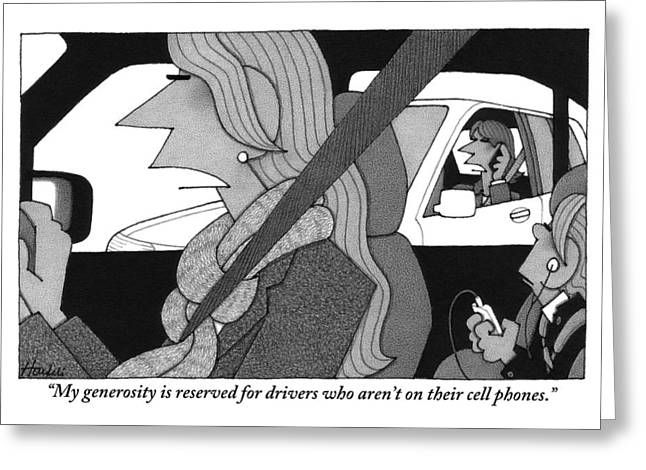 A Woman Driving A Car Speaks.  Her Kid Is Sitting Greeting Card by William Haefeli