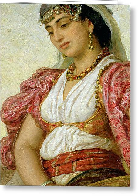 Coins Greeting Cards - A Woman from Algiers Greeting Card by John Evan Hodgson