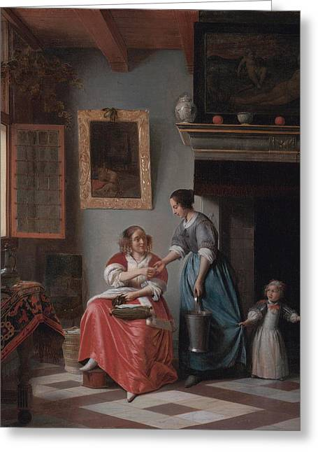 Hooch Greeting Cards - A woman handing a coin to a serving woman with a child Greeting Card by Pieter de Hooch