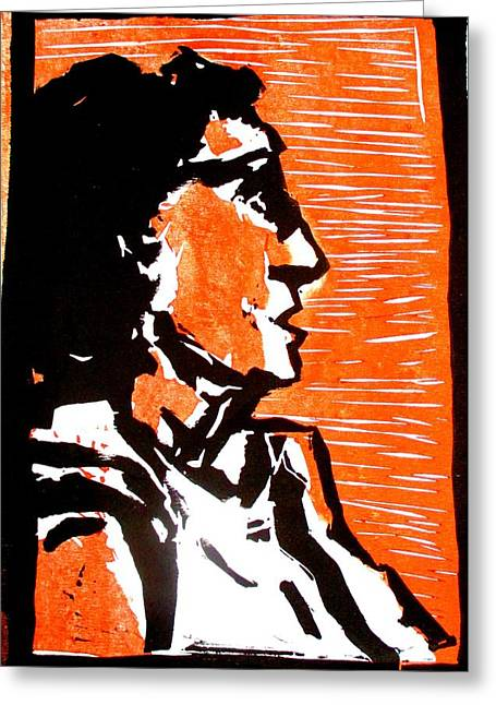 Linocut Paintings Greeting Cards - A woman I Greeting Card by Maria Mimi