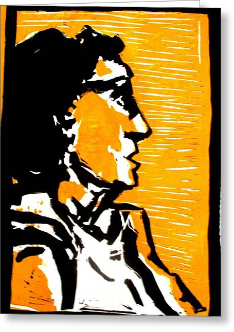 Linocut Paintings Greeting Cards - A woman II Greeting Card by Maria Mimi