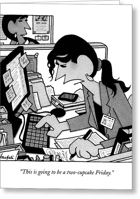 A Woman In A Cubicle Works At A Computer Greeting Card by William Haefeli