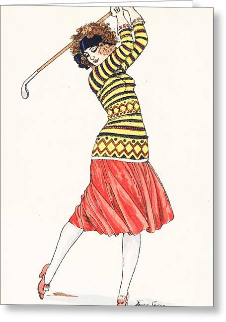 Yellow Sweater Greeting Cards - A woman in full swing playing golf Greeting Card by French School