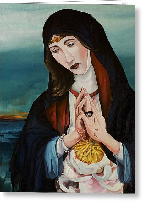 Joseph Demaree Greeting Cards - A Woman in Prayer Greeting Card by Joseph Demaree
