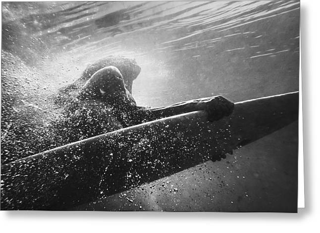 Swimsuit Photo Greeting Cards - A Woman On A Surfboard Under The Water Greeting Card by Ben Welsh