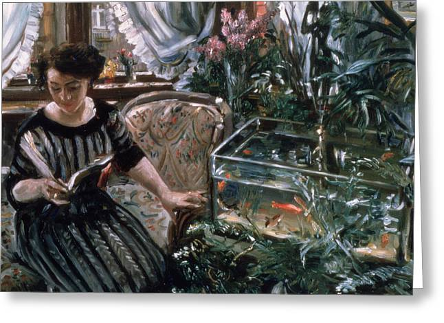 Chaise Greeting Cards - A Woman Reading near a Goldfish Tank Greeting Card by Lovis Corinth